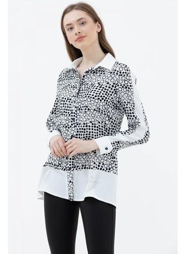 Sementa Puantiyeli Rahat Kalıp Uzun Gömlek - Beyaz Beyaz